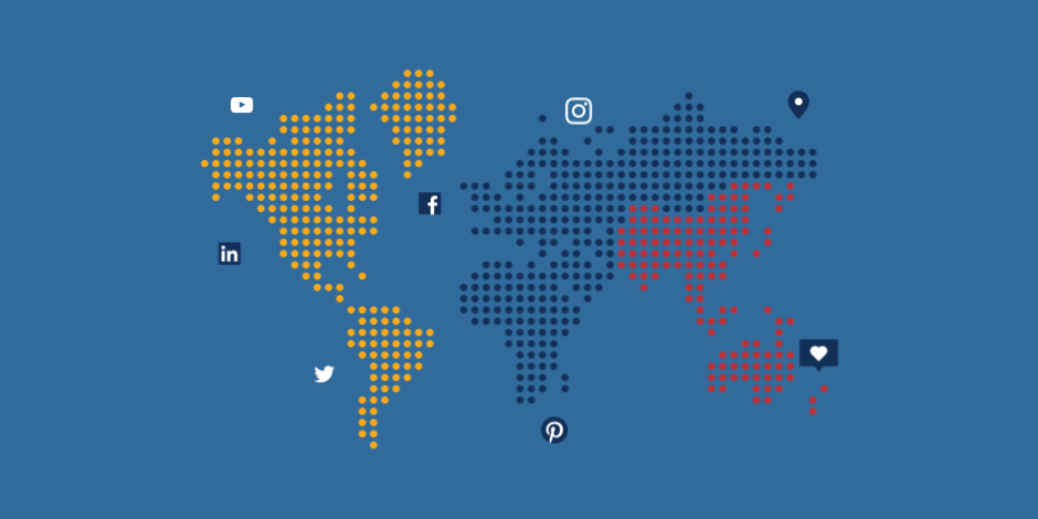 Illustration of a world atlas with social media logos and icons scattered throughout