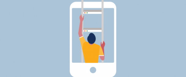 illustration of a man climbing out of a phone