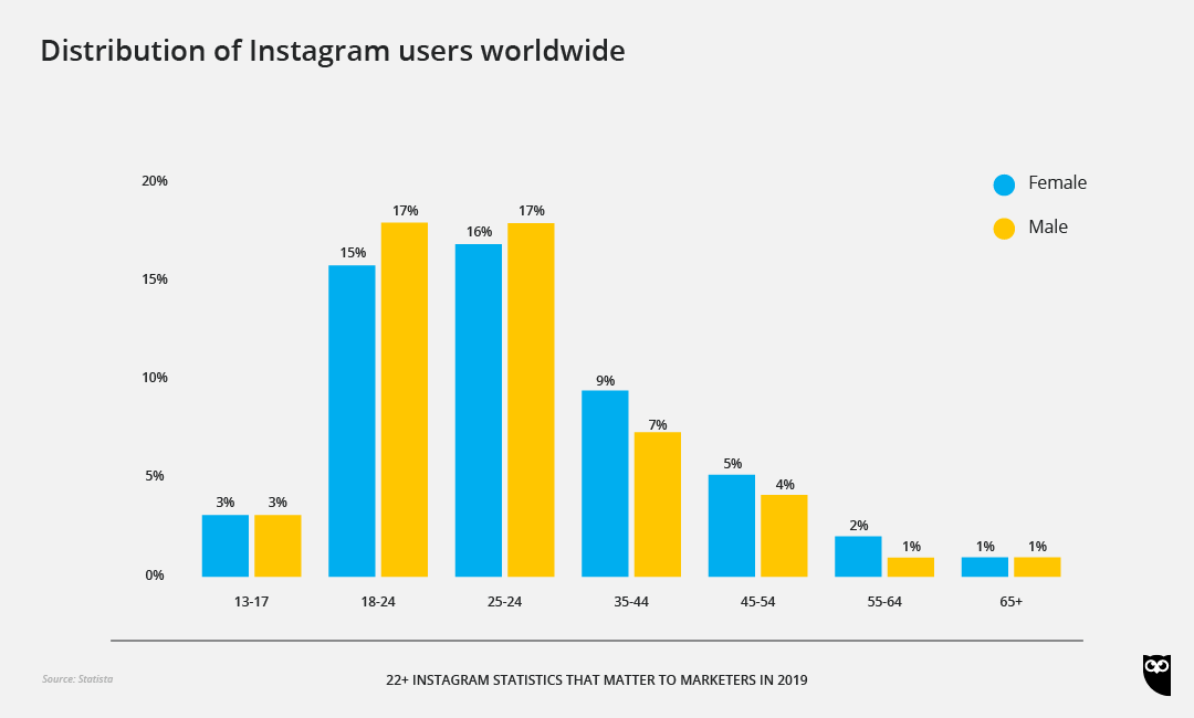 Distribution of active Instagram users worldwide as of January 2019, sorted by age group and gender.
