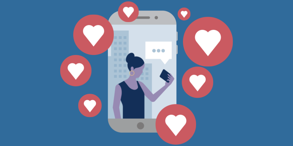 Illustration of a phone surrounded by Instagram hearts (Likes)
