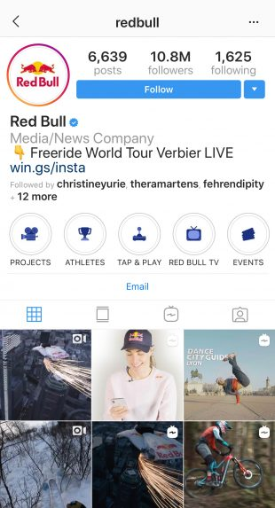 Profil Instagram Red Bull avec icônes Hightlight