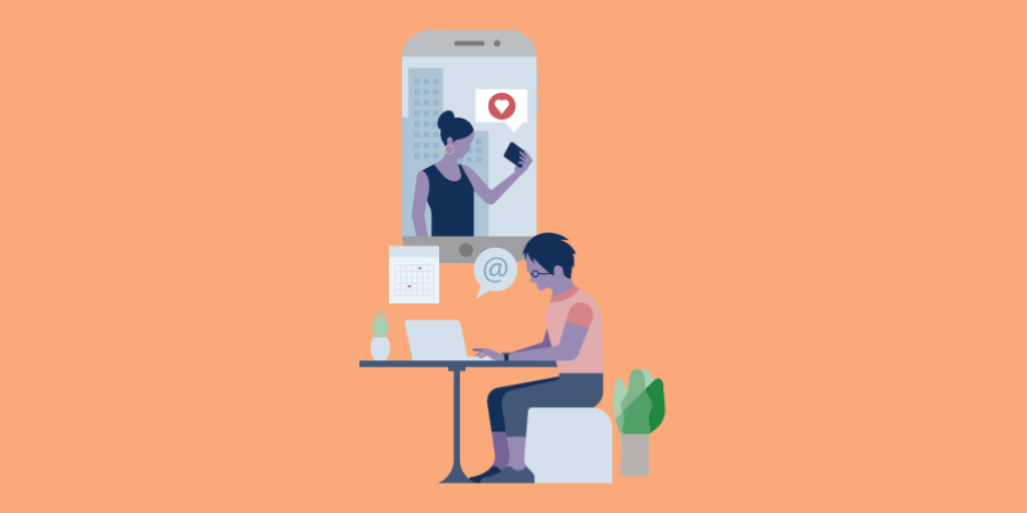 Illustrations of a person working at his desk on a laptop with templates around him and above him is a giant smart phone with a woman appearing in an Instagram Stories-like screen