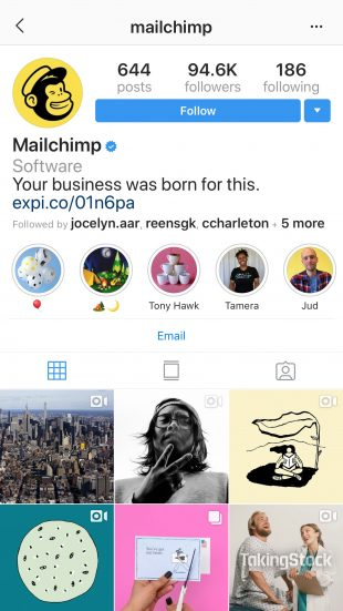 Profil MailChimp Instagram avec couvertures Highlight