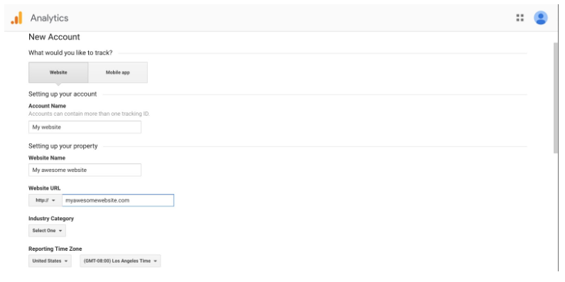 how to sign up for Google Analytics: step 2