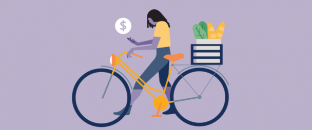 illustration of woman shopping on Instagram while walking her bike
