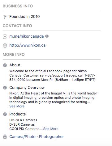 Facebook bio for Nikon