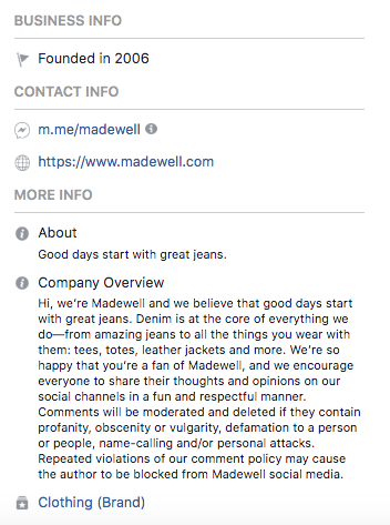 Facebook bio for Madewell