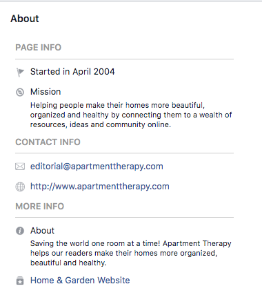 Facebook bio for Apartment Therapy