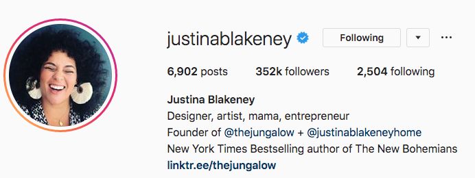 Instagram bio for Justina Blakeney
