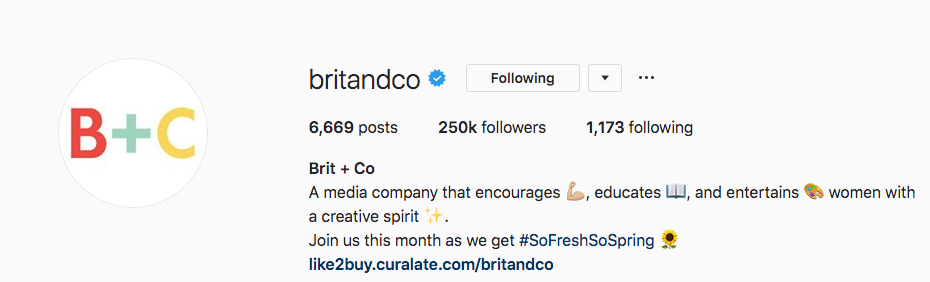 Instagram bio for Brit and Co.