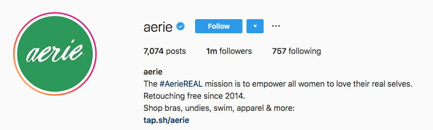 Instagram bio for Aerie