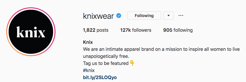Instagram bio for Kinxwear