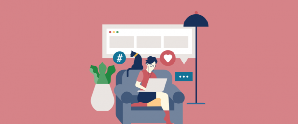 Illustration of a person sitting in the chair with social media hearts, comment icons, and hashtags float around them