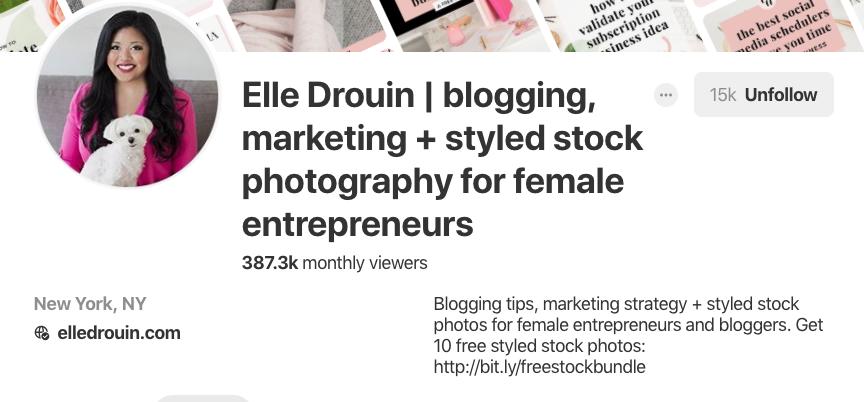 Pinterest bio for Elle Drouin