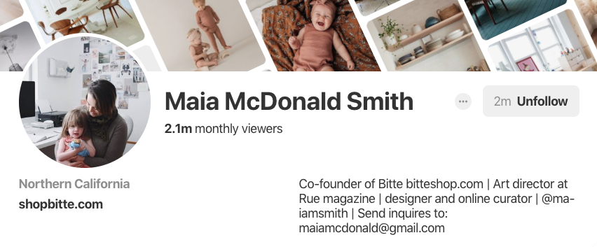 Pinterest bio for Maia McDonald Smith