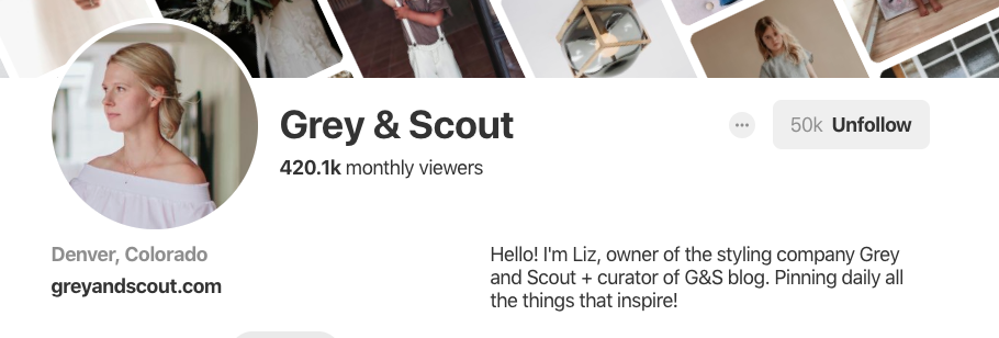 Pinterest bio for Grey & Scout