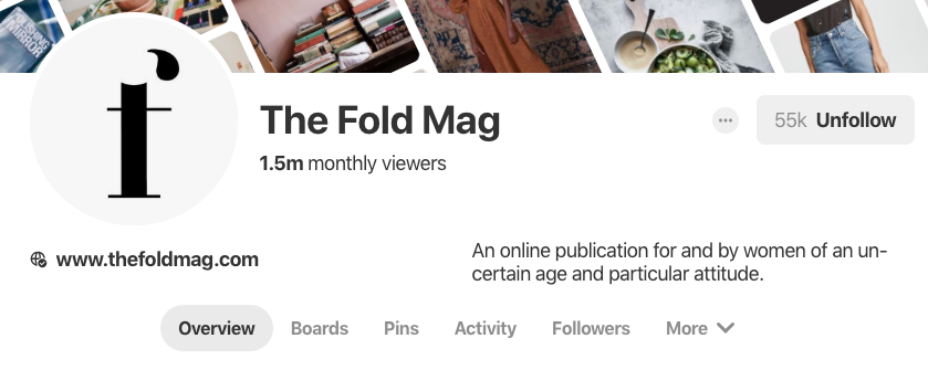 Pinterest bio for The Fold Mag