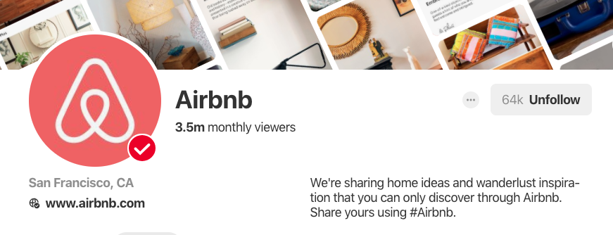 Pinterest bio for Airbnb