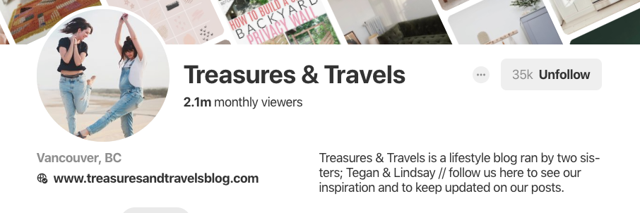 Pinterest bio for Treasures & Travels