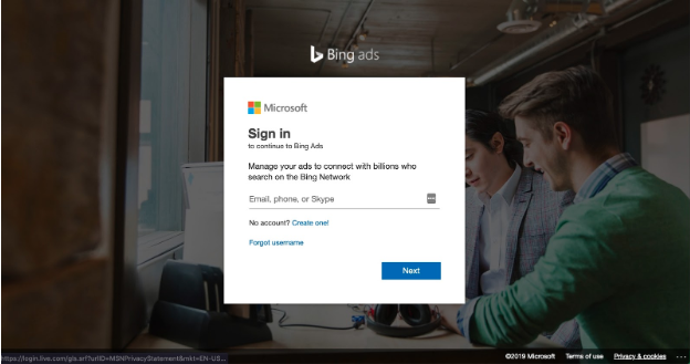 Bing ads login page