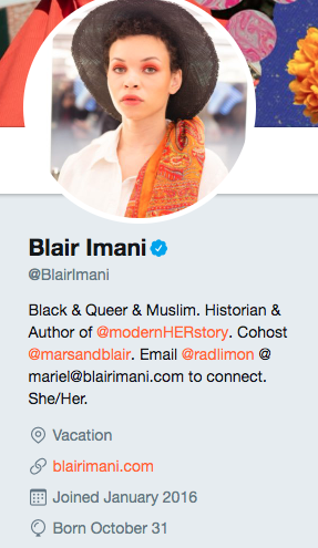 Twitter bio for Blair Imani