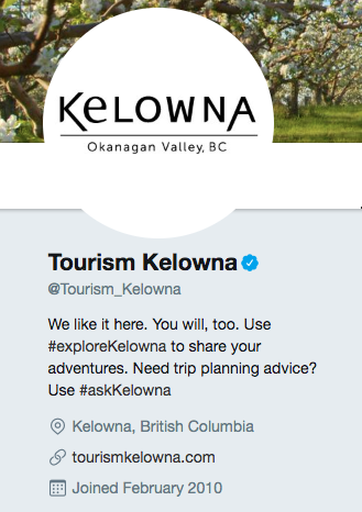 Twitter bio for Tourism Kelowna