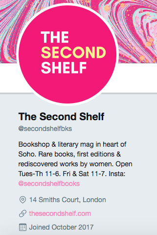 Twitter bio for The Second Shelf