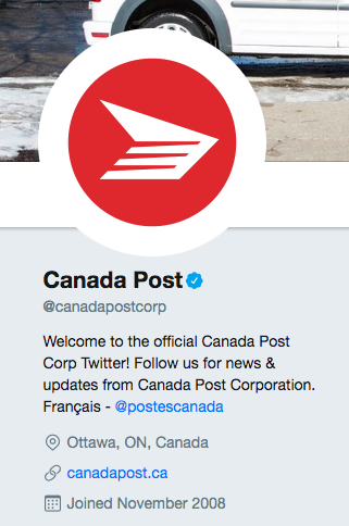 Twitter bio for Canada Post