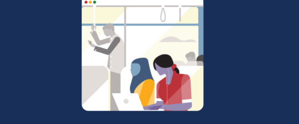 Illustration of people on a train looking at their laptops or phones