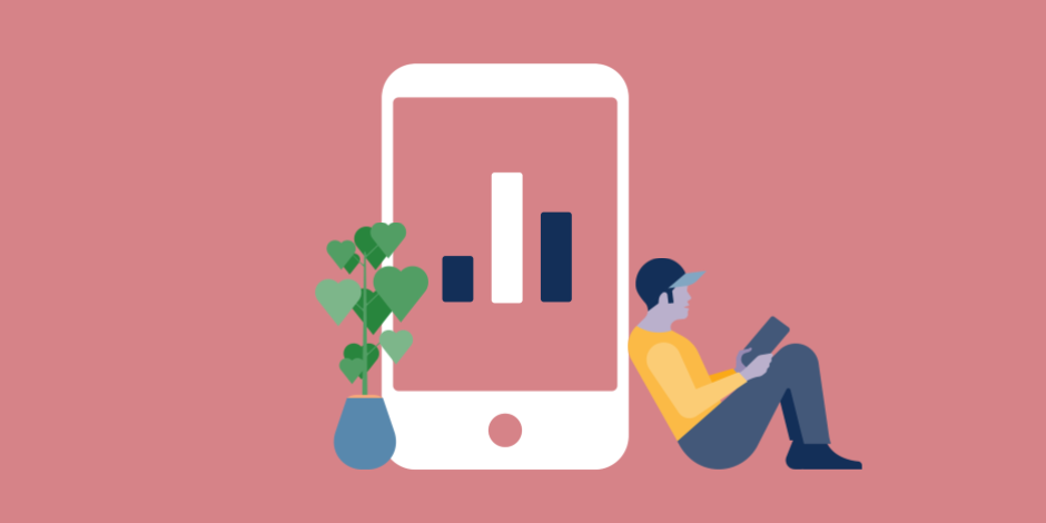 illustration of Instagram Stories Analytics on a phone with man reading to the right