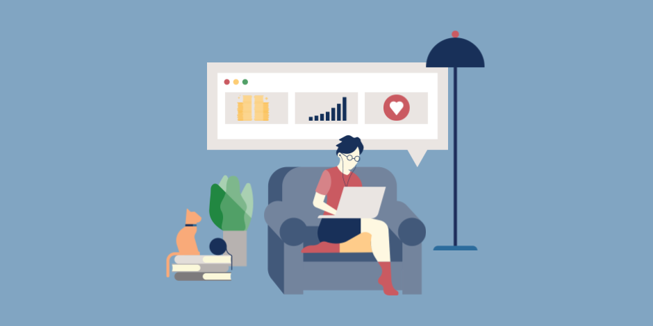 Illustration of a person in a chair looking at their laptop with social media report icons floating above