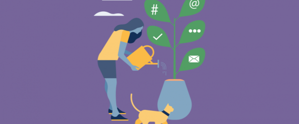 Illustration of a woman watering a plant that has social media icons—hashtags, verified checkmarks, @ symbols, etc.—as leaves.