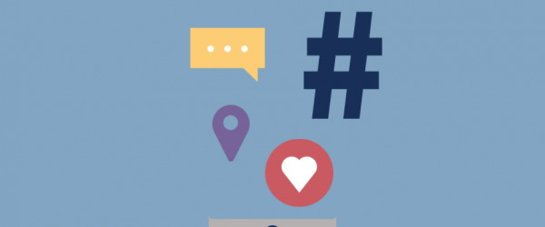 """Illustration of a smartphone with hashtags, text icons, and Instagram heart """"like"""" icon"""