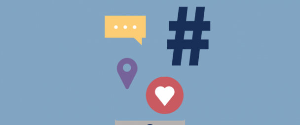 "Illustration of a smartphone with hashtags, text icons, and Instagram heart ""like"" icon"
