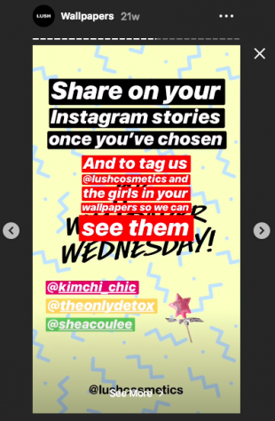 Lush Instagram Story asking followers to share their favorite wallpapers