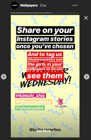 Lush Instagram Story demandant aux abonnés de partager leurs fonds d'écran préférés