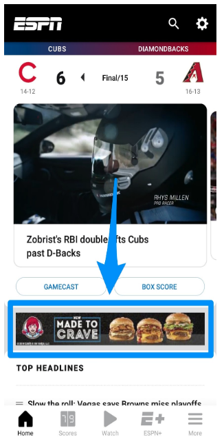 Google display ad in Google's app network