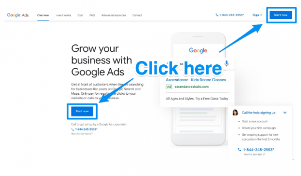 Page d'accueil des annonces Google