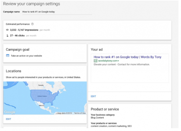 reviewing campaign settings on Google ads