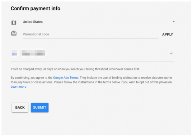 confirm payment info Google Ads