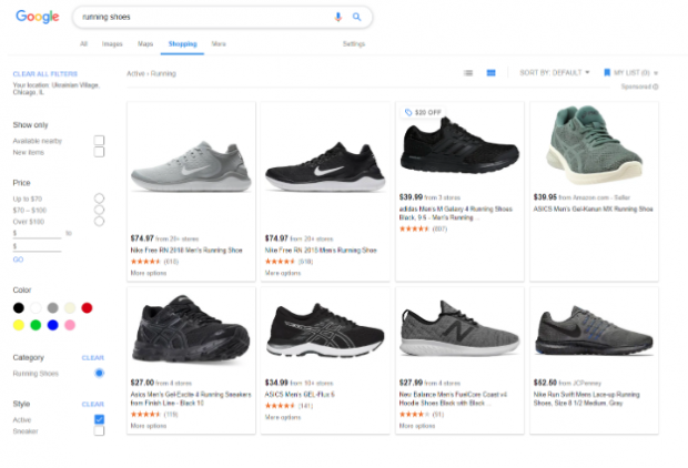 Google search ads for running shoes appearing in Google Shopping