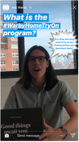 Warby Parker Instagram Story