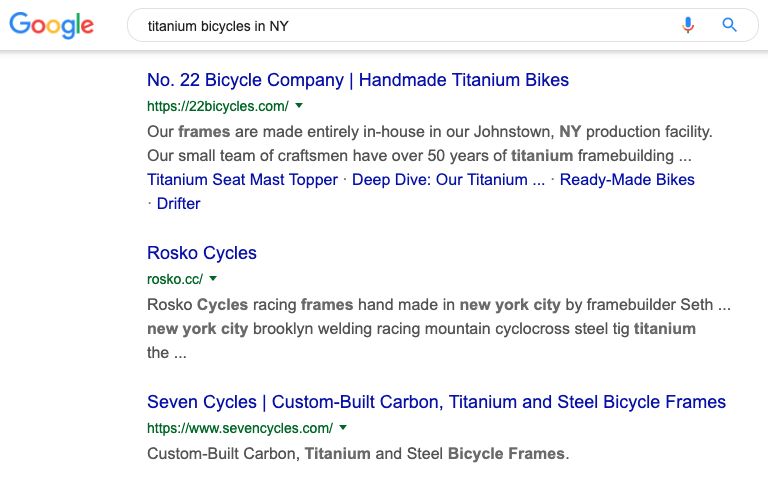 "Google search results for ""titanium bicycles in New York"""