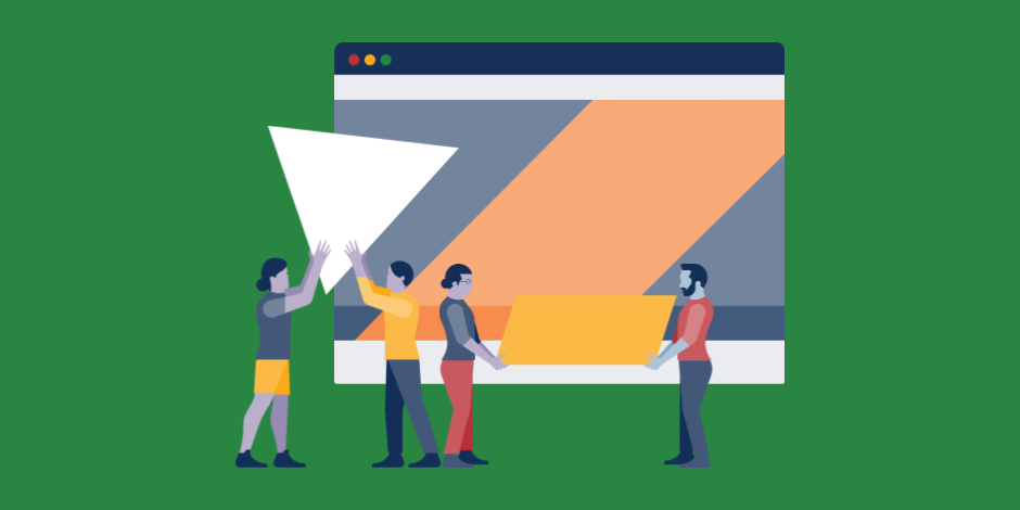 Illustration of for people moving design elements around on a giant internet browser