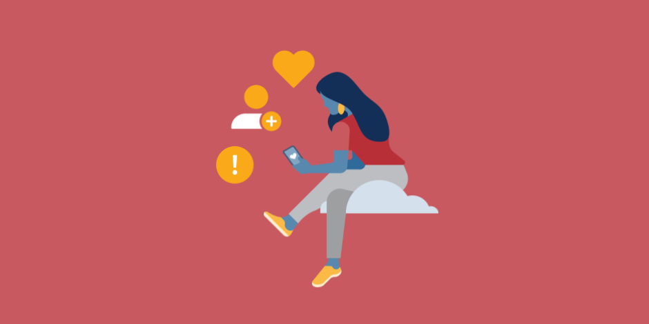 illustration of a woman sitting on a cloud and scrolling through her phone
