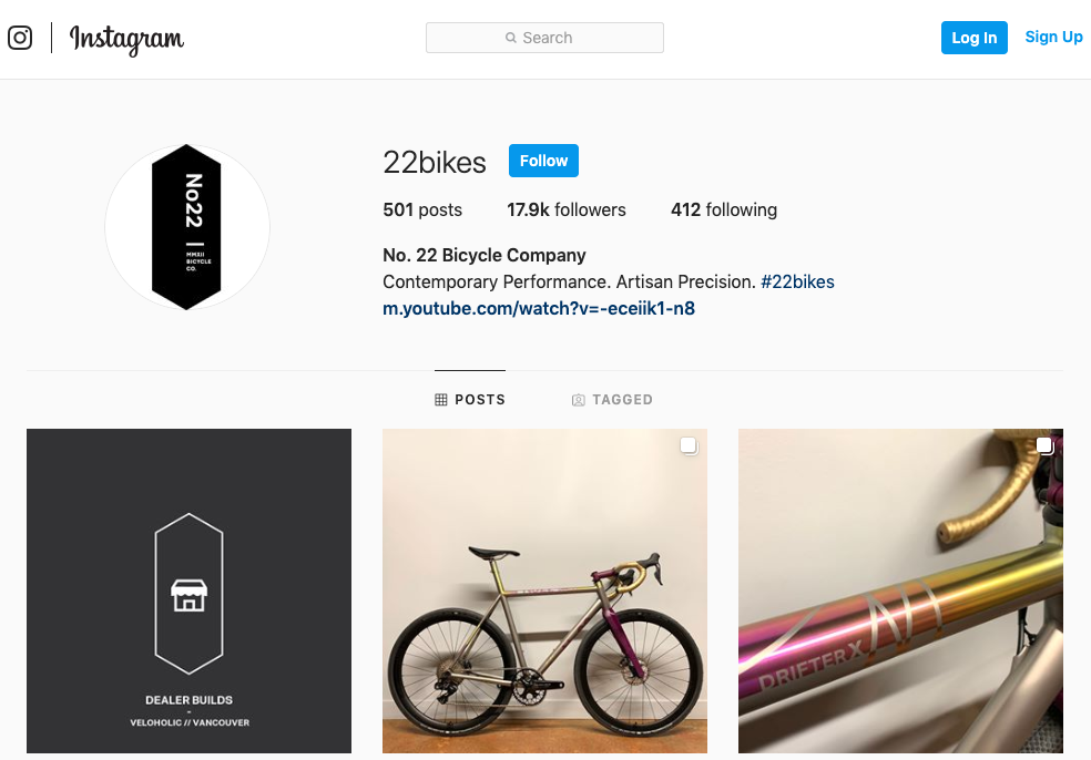 Bike company Instagram profile