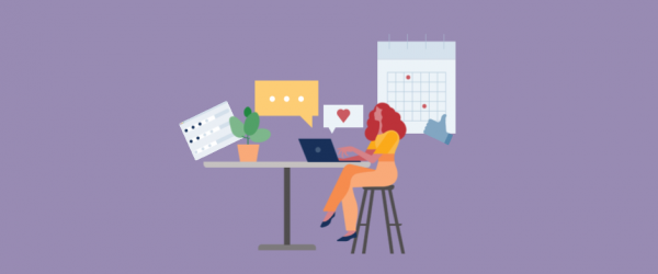 Illustration of a woman working on a laptop surrounded by social media icons and templates
