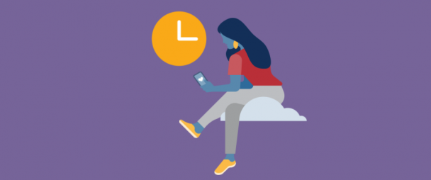 illustration of a woman sitting on a cloud looking at her phone with a clock in the distance