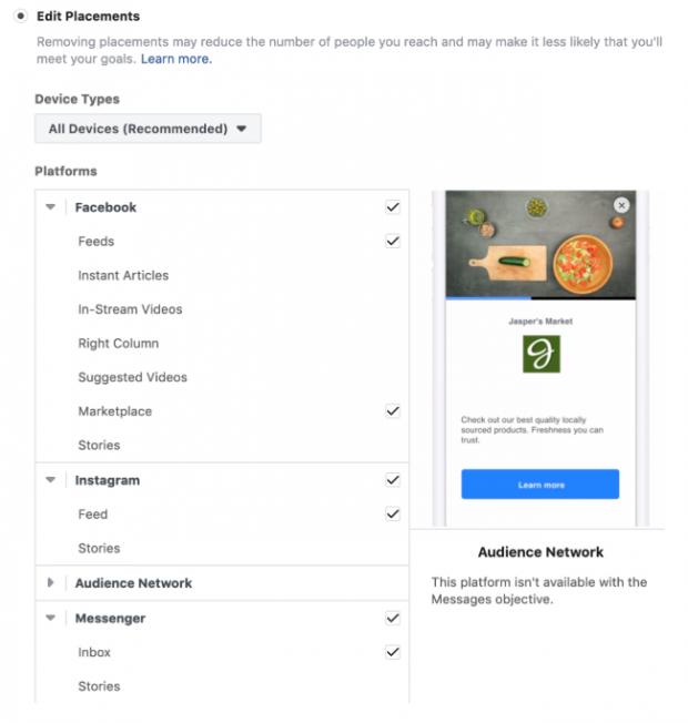 choisir le placement des annonces sur Facebook Messenger