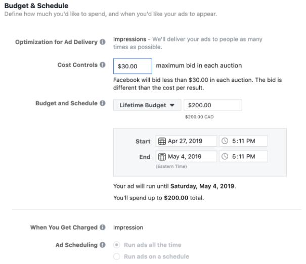 budget des annonces de messagerie facebook